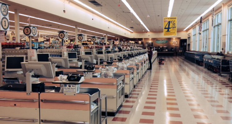 Picture of checkout sales lines at grocery store